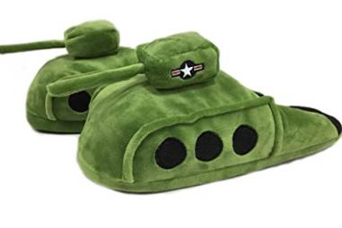 Battle Tank Plush Slippers